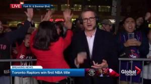 NBA Finals:  Global News anchor high-fives Raptors fans celebrating NBA title