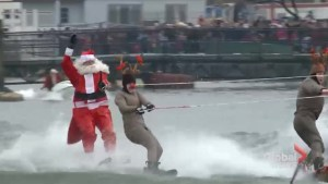 Santa water skis on Christmas