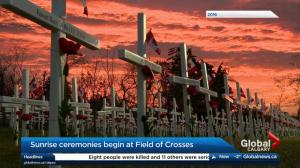 Ceremonies begin at the Field of Crosses on Memorial Drive