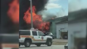 RAW: Building destroyed by massive fire in Niverville, Manitoba