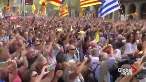 Celebrations in Barcelona after Catalan parliament votes for independence from Spain