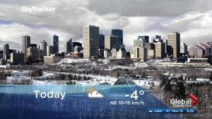 Edmonton early morning weather forecast: Monday, November 13, 2017