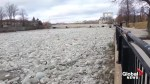 Ice rushes down Ontario's Grand River, raising flood risk