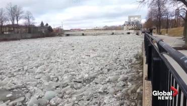 Grand River Flow >> Dramatic Video Captures Ice Jams Along Grand River In Cambridge