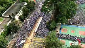 Timelapse captures thousands protesting in Hong Kong against China's extradition bill