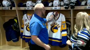 Behind the scenes in the Saskatoon Blades dressing room