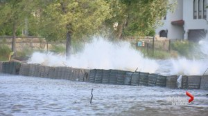 Gusty winds create spectacle on overflowing Okanagan Lake