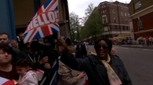 Royal baby celebrated with cheers and singing