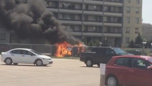 RAW: Van consumed by flames in Winnipeg