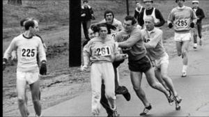 Kathrine Switzer runs the Boston Marathon 50 years after first run