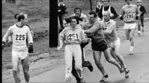 Kathrine Switzer runs the Boston Marathon 50 years after first run