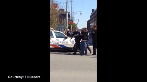 Exclusive video of arrest in connection with shooting in Toronto's Distillery District