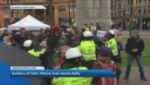 Soldiers of Odin attend anti-racism rally