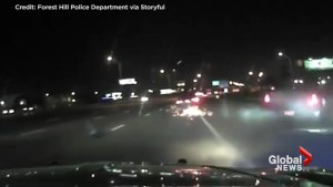 Dash cam captures scary close call as drunk driver nearly hits two cops