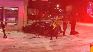 Downtown Storefronts in Kingston significantly damaged by a chain vehicle crash