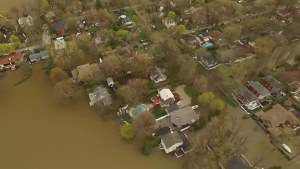 Drone footage shows severe flooding in Vaudreuil-Dorion