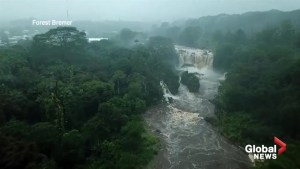 Hurricane Lane: Drone footage captures raging, flooded rivers in Hilo, Hawaii