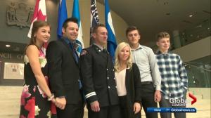 Edmonton firefighter honoured for off-duty rescue
