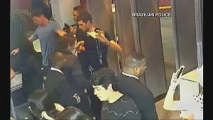 Brazilian Police release video showing US swimmers attending a party