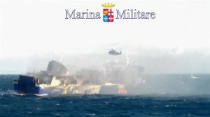 Italy Navy helicopter rescues passengers from burning ferry