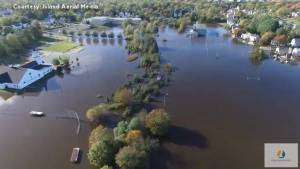 Drone footage shows flooding in Sydney, Cape Breton after devastating Thanksgiving weekend storm