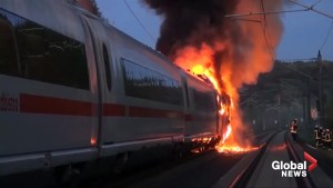 German high speed train catches fire