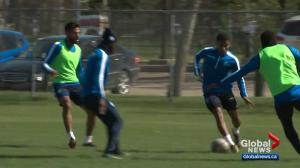 FC Edmonton prepares to play at Cavalry FC's stadium