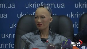 Sophia the humanoid robot meets with Ukrainian PM
