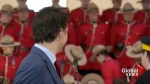 Justin Trudeau reacts as 2nd RCMP cadet faints during new commissioner's appointment