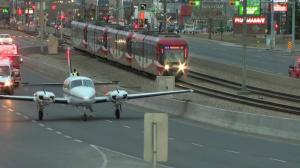 Small plane damaged after landing on Calgary roadway near downtown