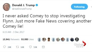 Donald Trump says on Twitter he never asked James Comey to quit investigating Michael Flynn