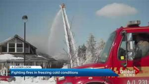 What it's like for Toronto firefighters to battle blaze in frigid temperatures