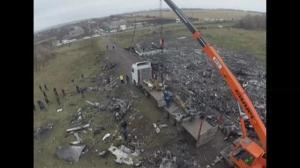 Aerial footage: MH17 crash site