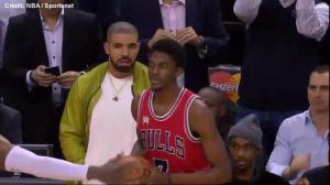 Drake distracts Chicago Bulls player during Raptors game, helps draw foul