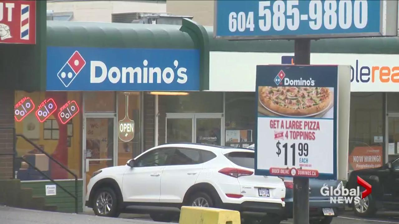 Security footage captures Domino's Pizza delivery driver eating pizza toppings