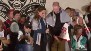 Prince William and Kate interact with kids in Bella, Bella, BC; receive cloaks, clothing as gifts