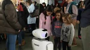 Young girls learn about working in science