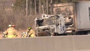 Transport truck catches fire on Hwy. 401 near Gananoque, Ont