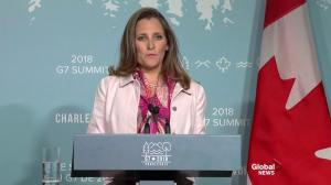 Freeland: Canada rejects 'illegal, unjustified' U.S. trade tariffs