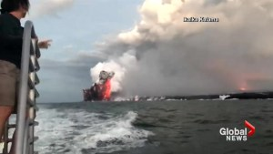 Video shows moment of lava explosion in Hawaii that sent rocks flying into tour boat