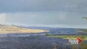 'Lava boats' drift down Kilauea's lower rift zone in timelapse video