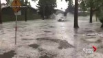 Storm floods street with water in Calgary's Midnapore neighbourhood