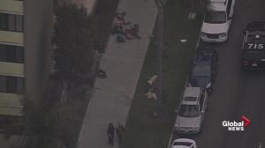 Aerial footage: At least 2 reported injured after shots fired at California high-rise