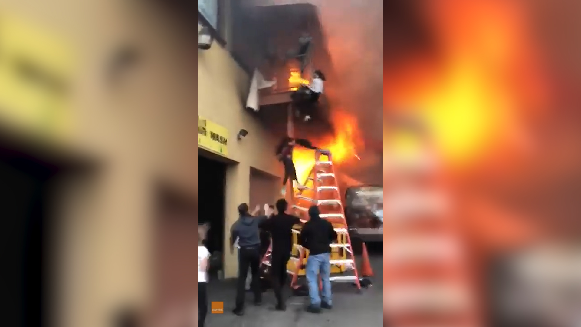 Girls jump from balcony of dance studio to escape fire