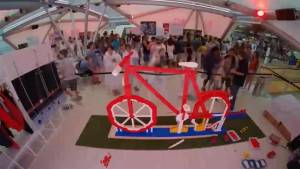 Bicycle made entirely of Lego delights visitors at Denmark's Olympic pavilion