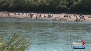 Growing popularity of unintended beach in Edmonton raises questions