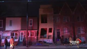 High winds caused a Leslieville house under construction to sway