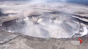 Aerial video from Hawaii shows partial collapse of Kilaeua's Halemaumau Crater