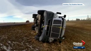 Strong winds wreak havoc on southern Alberta highways