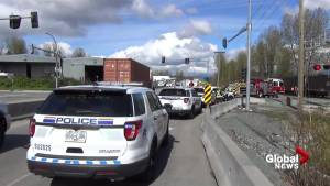 Train strikes SUV in Surrey